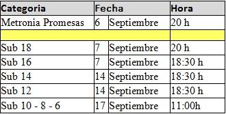 calendario entrenamientos