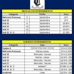 Horario y calendario de entrenamientos 2016-2017